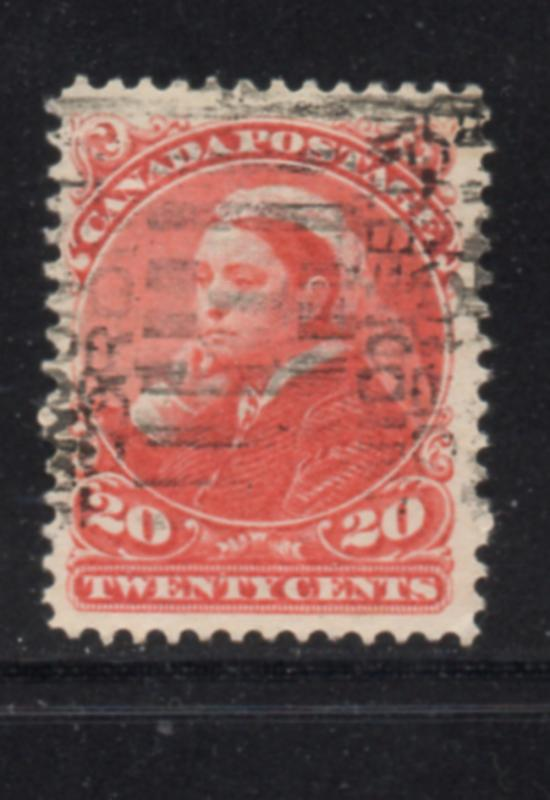 Canada Sc 46 1893 20c Queen Victoria in Widow Weeds stamp used