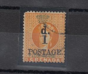 Grenada QV 1886 1d On 4d O/P SG39 Fine Used J5038