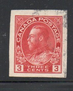 Canada Sc 138 1924 3c carmine G V imperforate stamp used