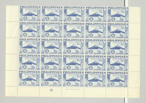 Philippines #618-619, C77 Rotary, Sailboat, Trees 3v Imprint Blocks of 25