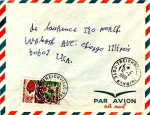 Ivory Coast 30F Cabbage Tree 1968 Treichville, Cote d'Ivoire Airmail to Chica...