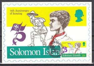 Solomon Is., Scott cat. 481 only. Scouting, 75th Anniversary, Maximum Card.