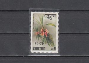Bhutan, Scott cat. 260. Flower value SURCHARGED. *