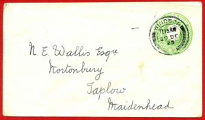 EP54 KGV 1/2d Green Envelope Size E Used Windsor CDS