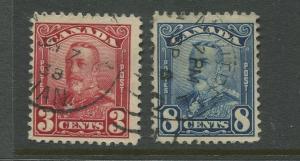 Canada  #151,154  FU  1928 KGV 2 X Single Stamp