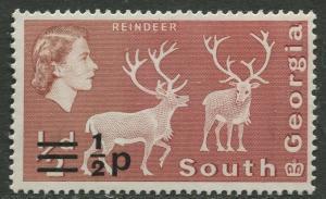 South Georgia - Scott 17b -Overprint -1977- MNH - Single 1/2p on a 1/2d Stamp