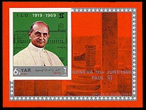 Yemen AR Michel Block 101, MNH, Pope Paul VI and the I.L.O. souvenir sheet