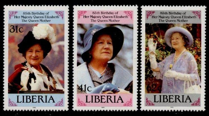 Liberia 1037-9 MNH Queen Mother 85th Birthday