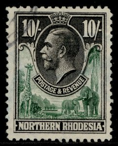 NORTHERN RHODESIA GV SG16, 10s green & black, FINE USED. Cat £100.