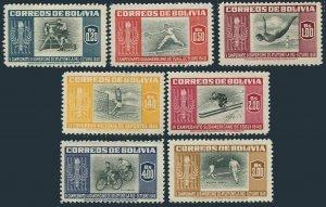 Bolivia 352-358,hinged.Michel 478-484. Athletic Championship,1951.Boxing,Tennis,