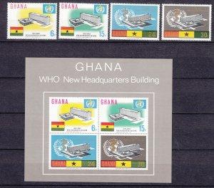 Z3923, 1966 ghana mnh set+s/s #247-50a WHO