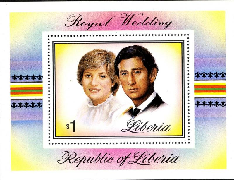 LIBERIA 961 MNH S/S SCV $3.50 BIN $2.50 ROYAL WEDDING