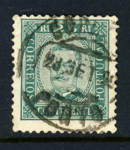 PORTUGAL - 1899  CORREIO / PORTO  T.2 Circle Date Stamp on Mi.70yA 25 R Green