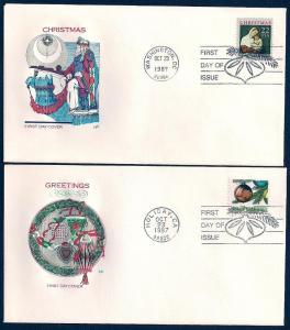 UNITED STATES FDCs (2) 22¢ Christmas 1987 Farnam