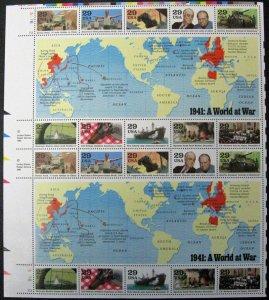 US #2559 World War II Pane of 20; MNH (4Stars)