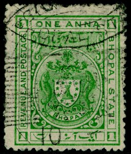 INDIAN STATES - Bhopal SG100, 1a green, USED.