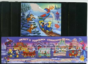 GRENADA GRENADINES 1998 DISNEY CHRISTMAS TRAINS SHEET OF 5 STAMPS & S/S MNH