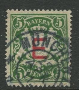 Bavaria -Scott O2 - Coat of Arms- Overprint-1908 -  Used - Single 5pf Stamp