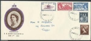 NEW ZEALAND 1953 Coronation scarcer long type commem FDC...................39994