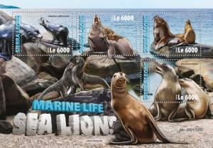 Sierra Leone MNH S/S Sea Lions 2016 4 Stamps