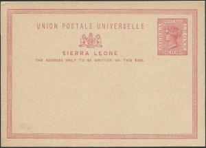 SIERRA LEONE QV 1d postcard fine unused....................................40684