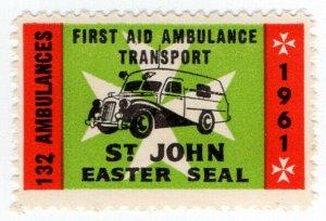 (I.B) New Zealand Cinderella : St John Ambulance Easter Seal (1961)