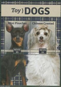 NEVIS  2014 TOY DOGS  MINI PINSCHER & CHINESE CRESTED SOUVENIR SHEET    MINT NH