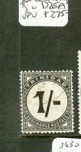 TRINIDAD AND TOBAGO  (P0508B) POSTAGE DUE 1/- UPRIGHT STROKE SGD25A  VFU SCARCE