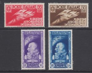 Italy Sc 345-348 MNH. 1935 Leonardo da Vinci & Flight, cplt set, scarce.