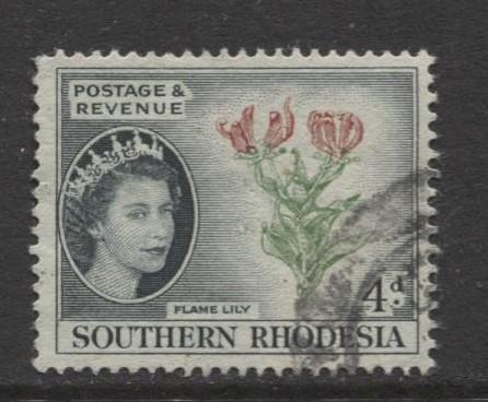 Southern Rhodesia- Scott 85 - QEII Definitives - 1953 - Used - Single 4d Stamp