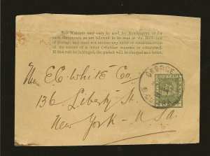 British Guiana Postmarked 1890's Pre-stamped 1 Cent Newspaper Wrapper Front Only