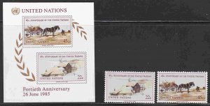 United Nations #135-37 (Geneva) Mint F-VF NH ** Andrew Wyeth Paintings, horse
