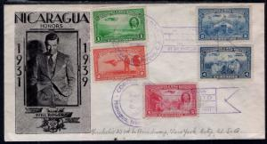 Nicaragua C236-C240 Lindbergh Pencil FDC