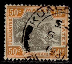 MALAYSIA - Federated Malay GV SG74b, 50c black & orange-brown, USED.