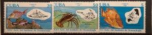 CUBA 1990 Sc# 3225-3227 OCEANOGRAPHY INSTITUTE ANNIV. SET x 3 MNH