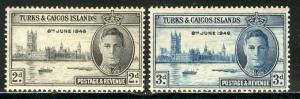 Turks & Caicos 1946: Sc. # 90-91: **/MNH Cpl. Set