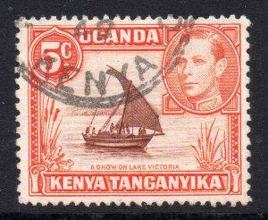 KUT 1938 KGVI 5c perf 13x11¾ SG 133 used - Kenya Uganda Tanganyika