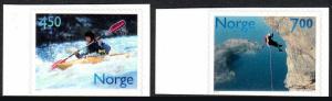 Norway 1294-1295, Self-Adhesive, MNH. Sports. Kayaking, Rock climbing, 2001