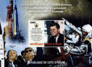 SPACE John Glenn-John F.Kennedy s/s Perforated Mint (NH)