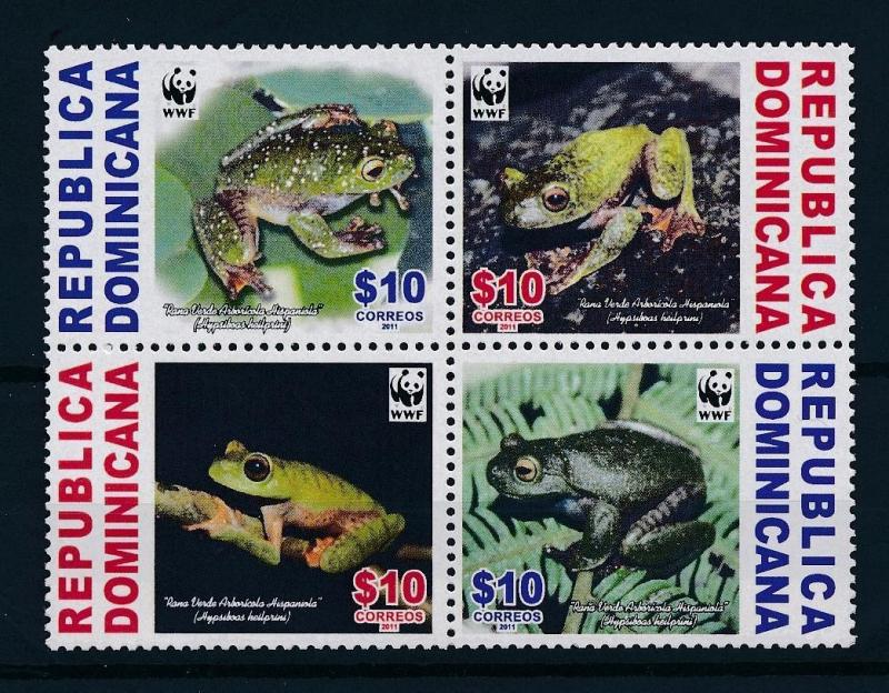 [54203] Dominican Republic 2011 Amphibians WWF Frogs MNH