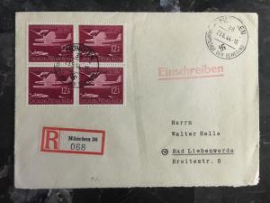 1944 Munich Germany Cover to Bad Liebenwerda Block of 4 # B252B