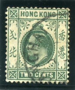 HONG KONG;  1907 early Ed VII issue fine used 2c. value