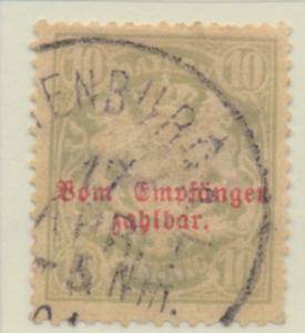 Bavaria (German State) Stamp Scott #J9, Used, Thin - Free U.S. Shipping, Free...