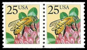 PCBstamps     US #2281f Coil Pair 50c(2x25c)Honeybee, large block tag, MNH, (5)