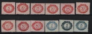 LIECHTENSTEIN J1-J12 (12) Set, Hinge Remnant, 1920 Postage Due Stamps