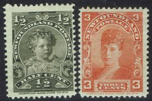 NEWFOUNDLAND 1897 ROYAL PORTRAIT 1/2C AND 3C