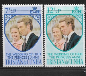 Tristan da Cunha MNH 189-90 Royal Wedding Princess Anne