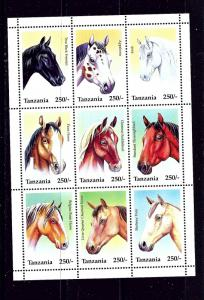 Tanzania 1430 MNH 1995 Horses sheet of 9