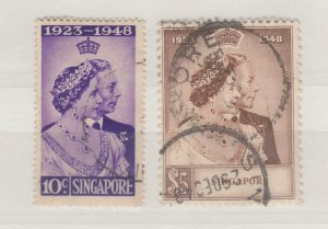 Singapore KGVI 1948 Silver Wedding Set SG31/32 Fine Used J7569