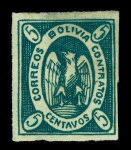 BOLIVIA  1867  CONDOR  5c  green  Scott # 2b  mint MH